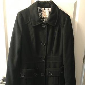 Tulle Black, Wool Pea Coat, Sz Medium